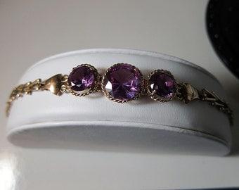 Antique Alexandrite Color Change 14k Rose Gold 3 piece Set -  Earrings & Bracelet 23.2 Grams