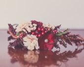 Holiday Flower Crown - Rustic Halo - Flowergirl hairpiece - Summer Wedding - Newborn Photo Prop - Wedding Crown - Floral Hairpiece