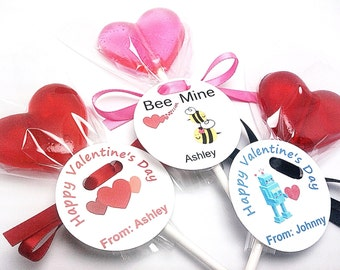 12 HEART LOLLIPOPS with Tags and Satin Ribbon - Party Favors