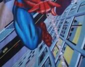 Spiderman fleece panel with crocheted edge