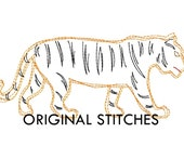 Quick Stitch Tiger Embroidery Digitized Digital Design File 4x4 5x7 6x10 8in
