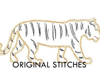 Quick Stitch Tiger Embroidery Digitized Digital Design File 4x4 5x7 6x10 8in