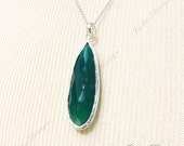 FREE SHIPPING Large Long Green Onyx Tear Drop pendant Sterling Silver Necklace ZN3