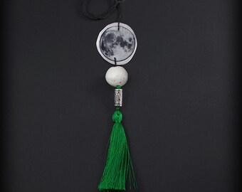 Greenman Moon - long necklace with tassel, BOHO pendant
