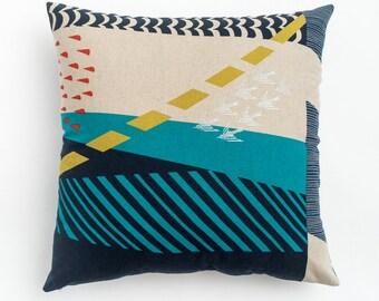 Silver Flight Pillow. Bird pillow. Linen Pillow. Long Lumbar Pillow. Bed Pillow. Blue Teal Yellow Silver Navy Pillow. Birding gift