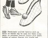 Vintage Mail Order Design #5044 Quilted Slippers Pattern  Sizes 4 1/2 - 8 1/2