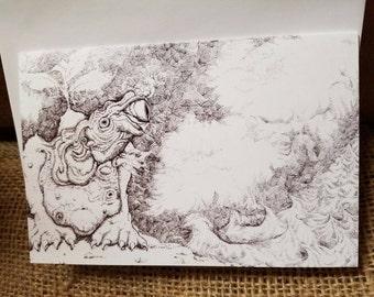 Art print folded card. By the sea