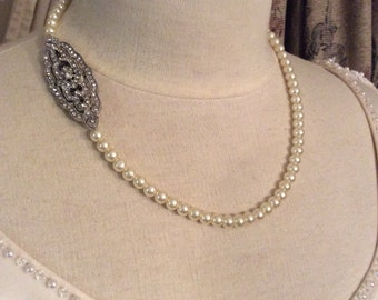 Art Deco necklace pearl necklace statement necklace bridal necklace bridal accessories wedding jewelry wedding accessories