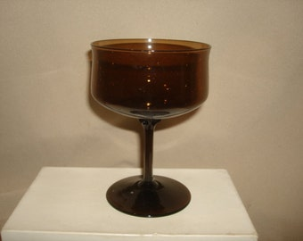 Lenox Glass ESPRESSO-BROWN Champagne /Tall Sherbert Glass ~ 8 Available ~ Vintage 1970s Mid Century