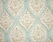 "Two 96"" x 50""  Custom Curtain Panels -  Damask - Spa Blue/ Green/ Coral/ Linen"