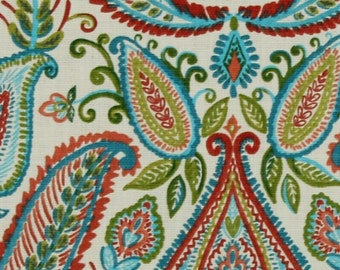 """Two 96"""" x 50""""  Custom Curtain Panels - Robert Allen Paisley Ombre Poppy  -  Blues/Greens/Red"""