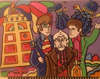 "The beatles yellow submarine doctor who ""day of the doctor"" parody framed canvas artwork 16"" x 12"""