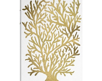 iCanvas Gold Coral Artprint Gallery Wrapped Canvas Art Print by Cat Coquillette