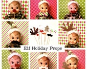 """Elf Photo Booth Props - Set of 8 MINIATURE Photo Booth Props - Elf Accessories ~ 3"""" - 4"""" Props"""