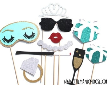 Fancy Photo Booth Prop Set - 10 piece set - Birthdays, Weddings, Parties - GLITTER Photobooth Props