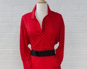 Red Black Polka Dot Valentine Dress with Belt - 80s 1980 -3/4 Length Sleeve Made in USA - Size S Small - Medium