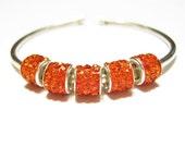 NEW! ORANGE Crystal, Euro Tube Beads, Quantity 5, Czech Crystal Beads for European Charm Bracelets, Lightweight