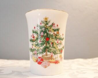 Vintage Porcelain Bathroom Glass - Holiday Decor - Christmas