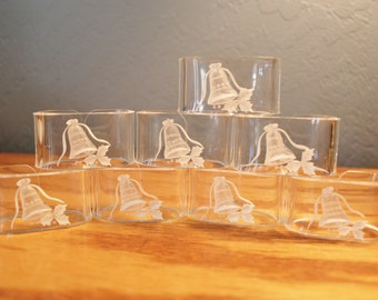 Lucite Clear Napkin Rings, Reverse Carved Bell and Holly, Christmas Decor