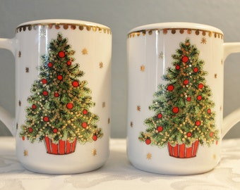 Christmas Tree Salt and Pepper Shakers with Handles