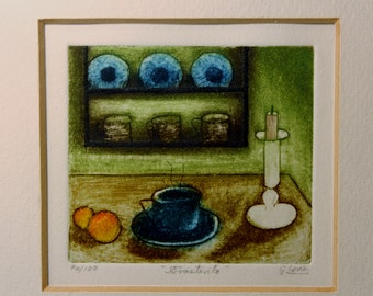 Small Framed Colored Etching Print Signed Gloria 76/100