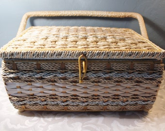 Vintage Sewing Box Beige Light Blue JC Penny