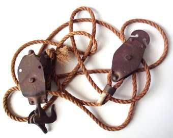 Vintage Block and Tackle with Rope, Pulleys