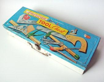 Vintage American Teach 'N Fun Tool Chest Tin Box Only, Junior Carpenter