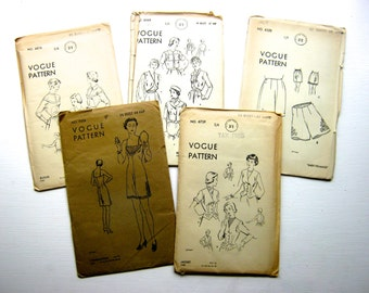 5 x Vintage 1930s, 1940s, 1950s Vogue Sewing Patterns
