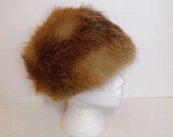 Vintage real European red fox fur hat ginger beige cream ski bunny Russian style