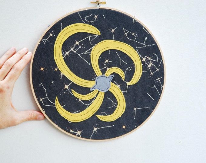 Quilted Fiber Art Hoop, Mini Art Project, Hoop Art, Stitch Art, OOAK Wall Hanging - Milky Way Galaxy
