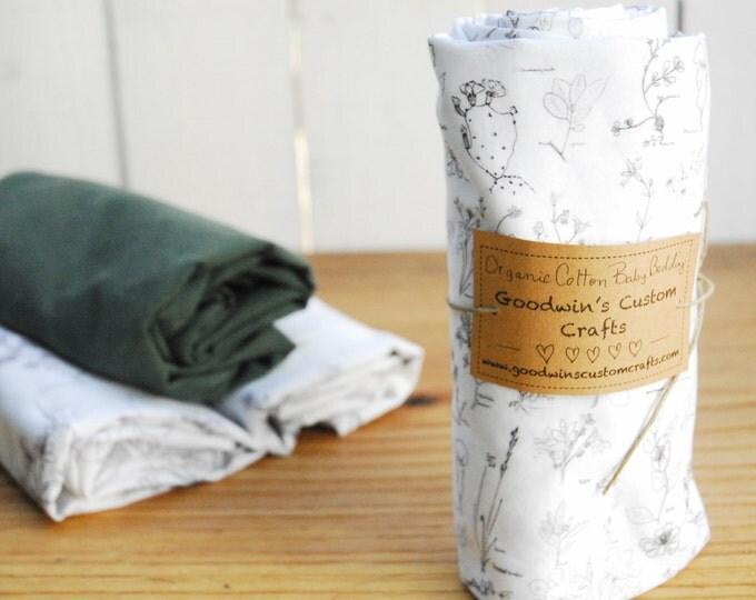 Organic Baby Bedding, Crib Sheet, Changing Pad Cover, Botanical Sketch