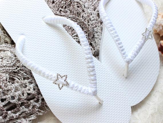 Bridal star flip flops, flat wedding shoes, white sandals, outdoor wedding attire, shower gift ideas, bridal shower ideas, bridal gift ideas