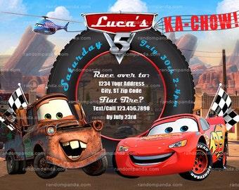 Cars Invitation, Mater Party, Lightning McQueen Invite