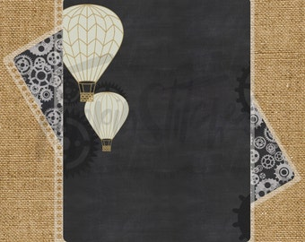 Steampunk Hot Air Balloon Themed Planner Cover for Erin Condren, Plum Paper Planner or Happy Planner