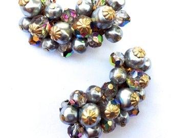 Laguna Silver Rhinestone Ear Climbers Desinger Faux Pearl Bridal Wedding Mad Men Retro Jewelry