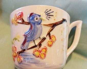 Huge Vintage Cup Blue Bird and Owl