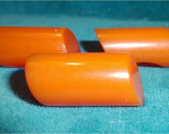 3 Butterscotch Matching Bakelite Cylinder Buttons