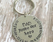 Dad you're our hero Keychain Custom Personalized Fathers Day