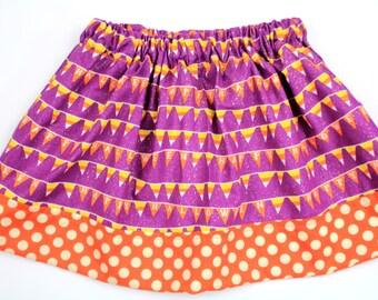 Girls Halloween Skirt, Happy Halloween Bunting Skirt, Purple and Oragne Halloween Skirt, Candy Corn Skirt