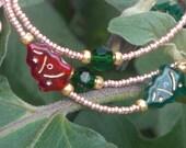 "Christmas Beaded Eyeglass Chain~Christmas~Gold with Red and Green Christmas Trees~28"" Handmade in USA Light Strong"