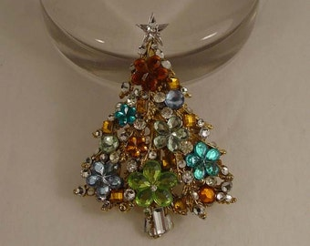 One of a kind MOD Christmas tree brooch