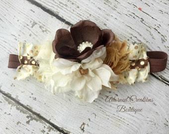 Brown and cream Fall headband, fall flower headband