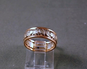 Vintage Two Tone Gold Pierced Wedding Ring 6.5mm wide 4.7gm Size 5.5 Cannot be sized