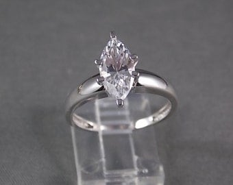 Marquise Cubic Zirconia 2 Carat White gold 14K Size 8 Engagement Ring Wedding Ring