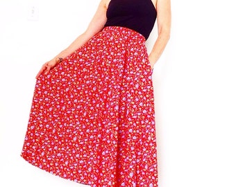 Long RED Floral SKIRT w POCKETS