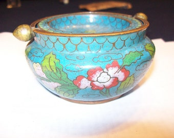 Cloisonné Ash Tray China Flowers and Leaves, Enameled Ashtray, Fine Cloisonne designs