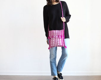 medium - magenta woven braided strap tapestry fringe tassle oaxacan crossbody purse