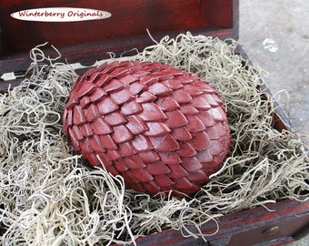 "Dragon Egg & Display Chest - 3-3/4"" Antiqued Burgundy Egg - Mythical Decor, Dragon Lover Gift, Goth, Geeky Gift, Mythical Creature"