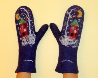"""Felted Gloves """"Christmas gifts"""" violet purple  house Christmas tree"""